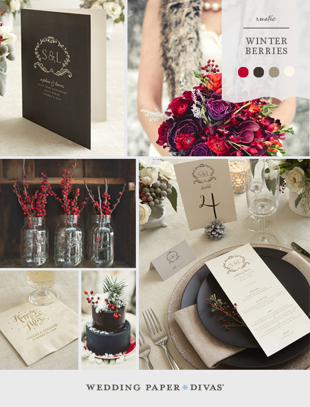 Winter Berries Wedding Inspiration Board