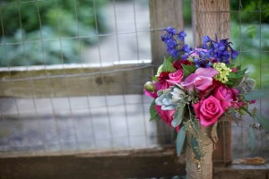Pretty Blue Pink Wedding Bouquet