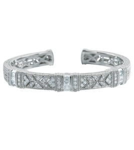 Estate White Gold Pia Cuff with Baguettes