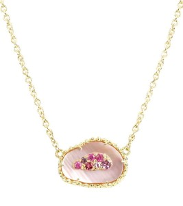 Stone Pendant Pink  Pearl Necklace
