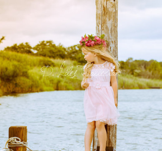The Charlotte Pink Lace Flower Girl Dress by DLilesCollection