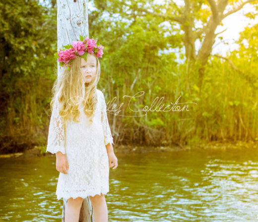 The Chloe Ivory Crème Flower Girl Lace Dress by DLilesCollection