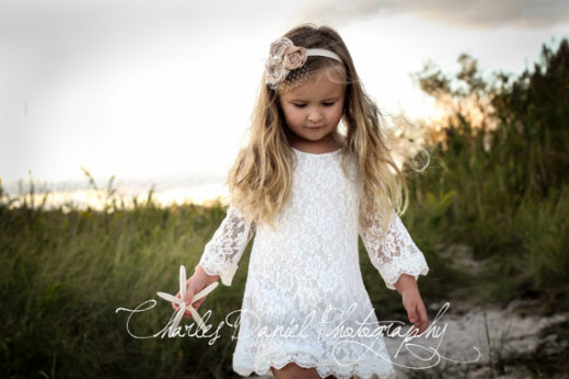 The Chloe White Flower Girl Lace Dress by DLilesCollection