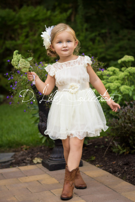The Charlotte, Ivory Lace Flower Girl Dress by DLilesCollection