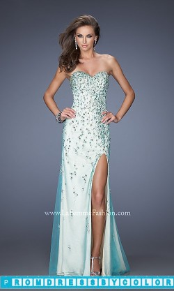 $234 Black Prom Dresses – Embellished Strapless La Femme Prom Dress at www.promdressbycolor.com
