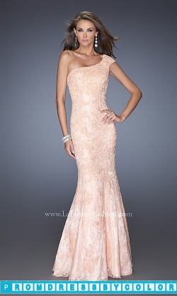 $209 Black Prom Dresses – Floor Length One Shoulder Lace Dress by La Femme at www.promdressbycolor.com