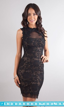 $144 Black Prom Dresses – High Neck Lace Black and Nude Dress at www.promdressbycolor.com