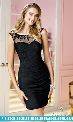 $143 Black Prom Dresses – High Neck Short Ruched Alyce Dress at www.promdressbycolor.com