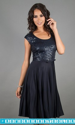 $144 Black Prom Dresses – Knee Length Cap Sleeve Dress at www.promdressbycolor.com