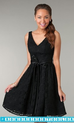 $145 Black Prom Dresses – Knee Length Sleeveless V-Neck Dress at www.promdressbycolor.com