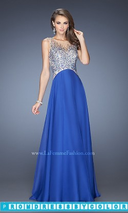 $203 Black Prom Dresses – Long Embellished Royal Blue La Femme Dress 20163 at www.promdressbycolor.com