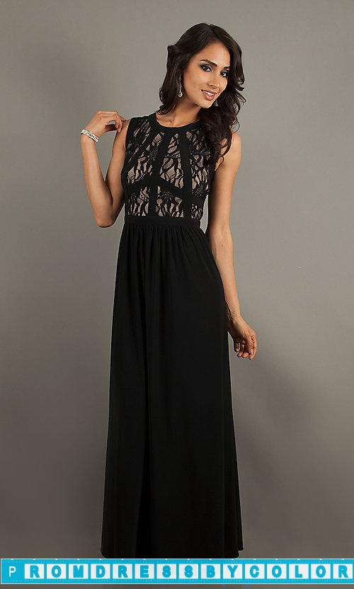 $149 Black Prom Dresses – Long Sleeveless Lace Dress by Morgan at www.promdressbycolor.com