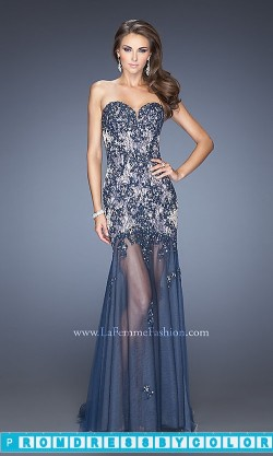 $193 Black Prom Dresses – Long Strapless Illusion Skirt Dress by La Femme at www.promdressbycolor.com