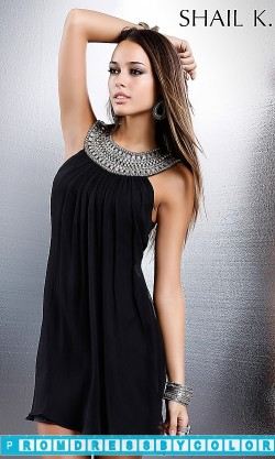 $148 Black Prom Dresses – Short High Neck Cocktail Dress by Shail K. at www.promdressbycolor.com