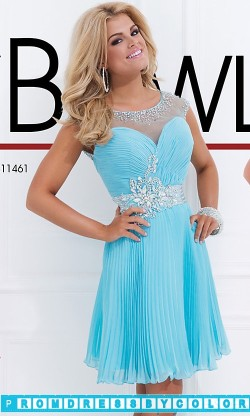 $175 Black Prom Dresses – Short Pleated Dress with Illusion Neckline at www.promdressbycolor.com