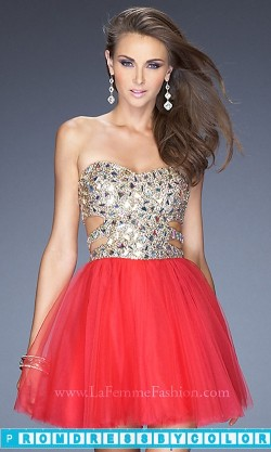 $170 Black Prom Dresses – Short Sequin Prom Dress by La Femme 19701 at www.promdressbycolor.com