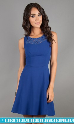 $144 Black Prom Dresses – Short Sleeveless Blue A-Line Dress at www.promdressbycolor.com