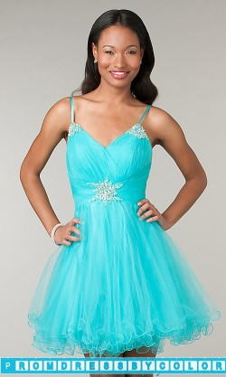 $170 Black Prom Dresses – Short Spaghetti Strap V-Neck Dress at www.promdressbycolor.com