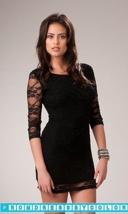 $149 Black Prom Dresses – 3/4 Sleeve Black Mini Dress at www.promdressbycolor.com