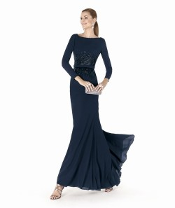$173 Black Prom Dresses – Tank Top Chiffon Sheath Column Floor Length Blue Military Ball/Evening Dress at www.promdressbycolor.com