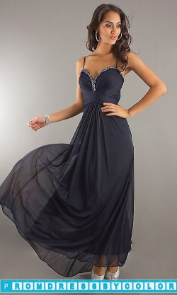 $140 Black Prom Dresses – Xscape Long Navy Blue Gown at www.promdressbycolor.com