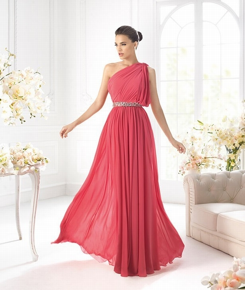 $136 Red Prom Dresses – A Line One Shoulder Chiffon Floor Length Red Evening Dress at www.promdressbycolor.com