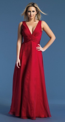$131 Red Prom Dresses – Floor Length Chiffon Princess V Neck Red Evening Dress at www.promdressbycolor.com