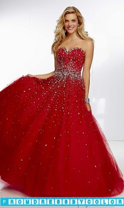 $233 Red Prom Dresses – Full Length Strapless Sweetheart Ball Gown at www.promdressbycolor.com