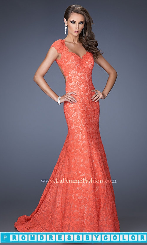$233 Red Prom Dresses – Lace Mermaid Gown by La Femme 20117 at www.promdressbycolor.com