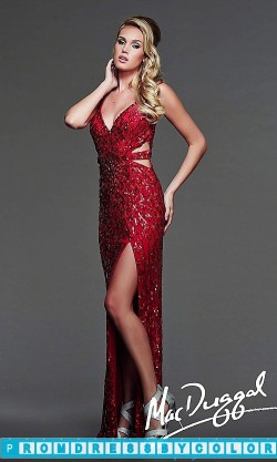 $173 Red Prom Dresses – Long V-Neck Sequin Formal Gown at www.promdressbycolor.com