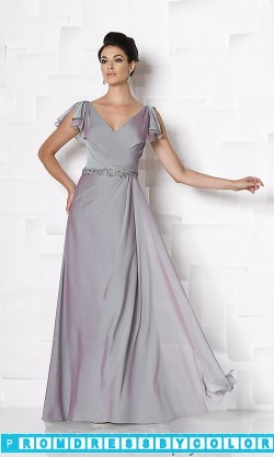 $173 Red Prom Dresses – Long V-Neck Short Sleeve Gown at www.promdressbycolor.com