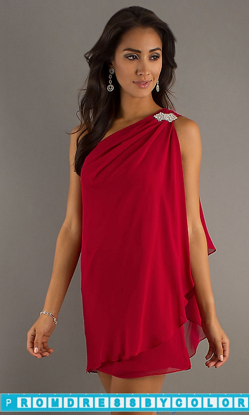 $144 Red Prom Dresses – Short One Shoulder Dress by Sally Fashion at www.promdressbycolor.com