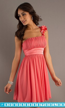 $149 Red Prom Dresses – Short One Shoulder Party Dress with Empire Waist at www.promdressbycolor.com