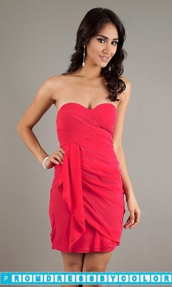 $144 Red Prom Dresses – Short White Strapless Dress at www.promdressbycolor.com