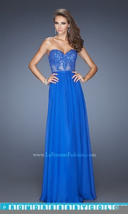 $173 Red Prom Dresses – Strapless Gown for Prom by La Femme 20393 at www.promdressbycolor.com