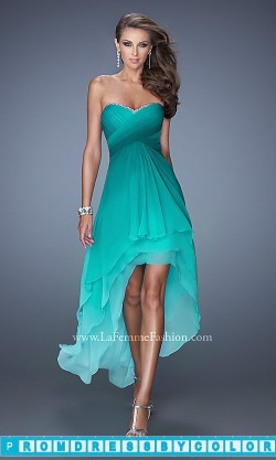 $210 Red Prom Dresses – Strapless Ombre High Low Dress by La Femme at www.promdressbycolor.com