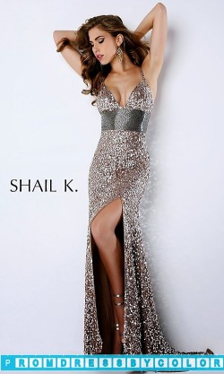 $205 Red Prom Dresses – V-neck Floor Length Sequin Dress at www.promdressbycolor.com