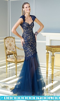 $203 Black Prom Dresses – Floor Length Lace Dress with Cap Sleeves at www.promdressbycolor.com