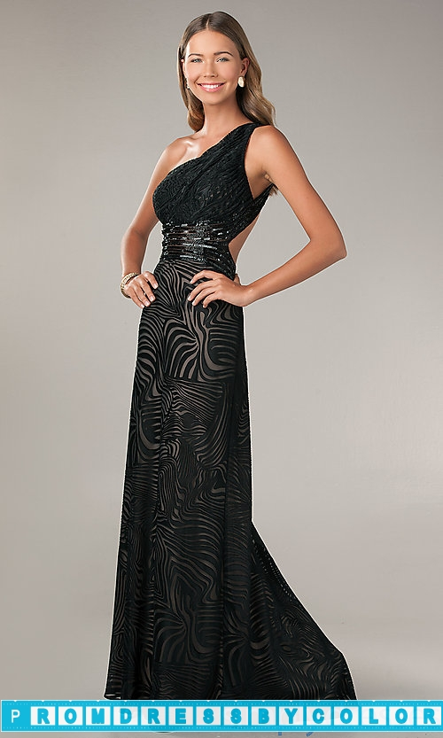 $204 Black Prom Dresses – One Shoulder Black Print Gown by Betsy and Adam at www.promdressbycolor.com