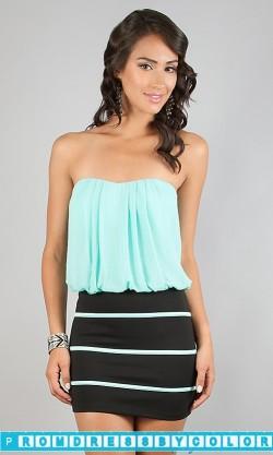 $149 Black Prom Dresses – Short Casual Strapless Dress at www.promdressbycolor.com