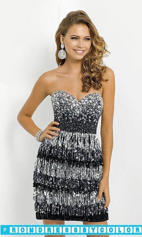 $204 Black Prom Dresses – Short Strapless Sequined Fringe Dress at www.promdressbycolor.com