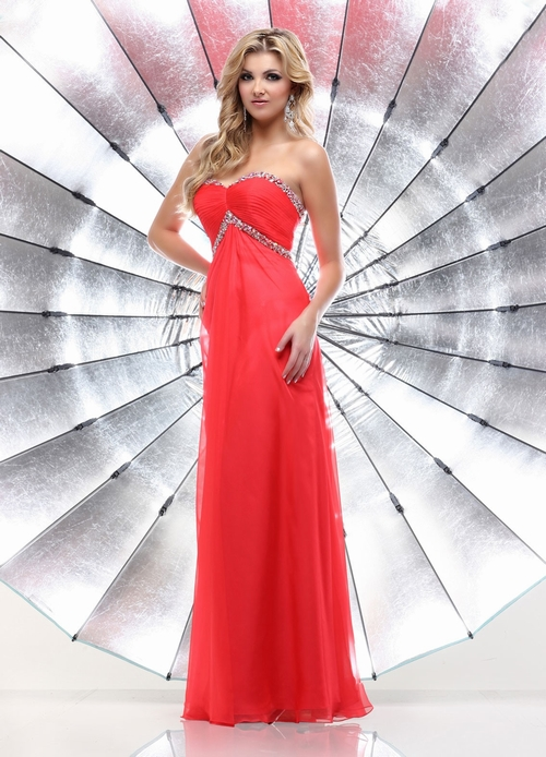 $128 Red Prom Dresses – Floor Length Princess Chiffon Sweetheart Red Evening Dress at www.promdressbycolor.com