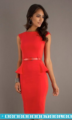 $170 Red Prom Dresses – Knee Length Modest Neckline Dress by XOXO at www.promdressbycolor.com