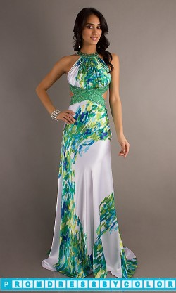 $259 Red Prom Dresses – Long Print Halter Gown by Morgan 11615 at www.promdressbycolor.com