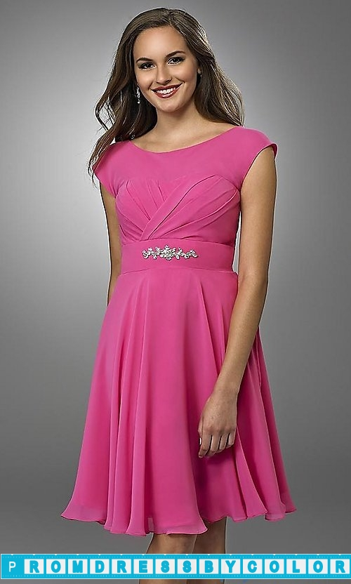 $103 Red Prom Dresses – Short Bridesmaid Dress with Cap Sleeves at www.promdressbycolor.com