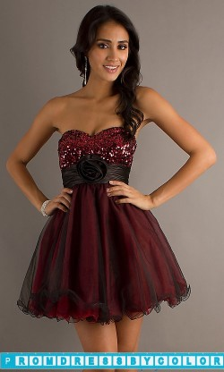 $149 Red Prom Dresses – Strapless Baby Doll Party Dress at www.promdressbycolor.com