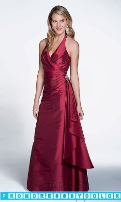 $104 Red Prom Dresses – Taffeta Halter Bridesmaid Dress at www.promdressbycolor.com