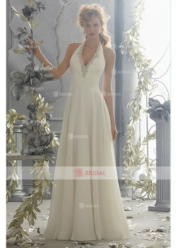 A-Line Halter Backless Natural Chiffon Sleeveless Beach Wedding Dresses