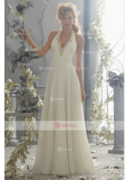 A-Line Halter Backless Natural Chiffon Sleeveless Beach Wedding Dresses