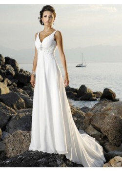 Ball Gown Classical Chiffon A-Line V-Neck Bridal Wedding Dresses